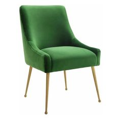 Beatrix Green Velvet Side Chair (14.145 RUB) ❤ liked on Polyvore featuring home, furniture, chairs, dining chairs, green velvet furniture, green chair, green kitchen chairs, green furniture and green dining chairs