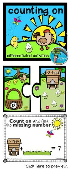 4 fun differentiated spring math activities focusing on developing an understanding of the concept of counting on (0-20).  $