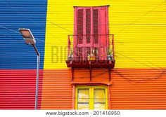 [ Colorful House In La Boca, Buenos Aires, With Balcony And Street Light Rustic Shutters, Home Icon, Art Background, Historic Homes, Vintage Colors, Wall Wallpaper, House Colors, Balcony, Illustration