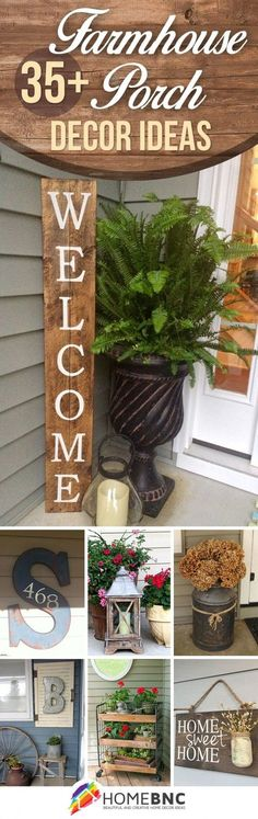 Like the ferns in the planter, and the letter with the address on it! Rustic Farmhouse Porch Designs