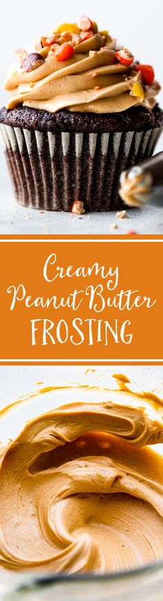 Super creamy peanut butter frosting! Silky, smooth, and not overly sweet! Recipe on sallysbakingaddiction.com