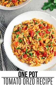 This Basil and Tomato Orzo recipe is quick and easy to make but is super flavorful and satisfying! It goes well with salad, a big piece of artisan bread, and a glass of white wine. Top it with vegan parmesan, fresh-cracked pepper, and more fresh basil or parsley.#veganhuggs #onepotrecipe #30minutedinner