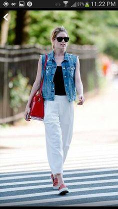 White pant & jean vest