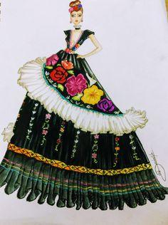 Fashion sketch mexicana tehuana ball fresa buenas Ondina Morales Dress Drawing, Drawing Clothes, Fashion Design Drawings, Fashion Sketches, Gown Dress Design, Fashion Illustration Poses, Mexican Quinceanera Dresses, Dress Sketches, Girl Sketch