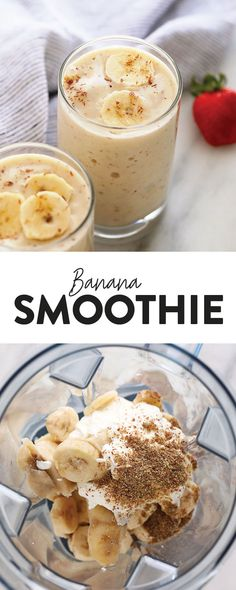 Let me introduce you to the creamiest and most delicious banana smoothie. This healthy banana smoothie is simple and packed with protein, fiber, and potassium! Blend it up this week for a healthy banana smoothie breakfast! Protein Smoothies, Fruit Smoothies, Strawberry Smoothie, Spinach Banana Smoothie, Healthy Dessert Smoothies, Chocolate Banana Smoothie, Simple Smoothies, Banana Milkshake, Healthy Snacks
