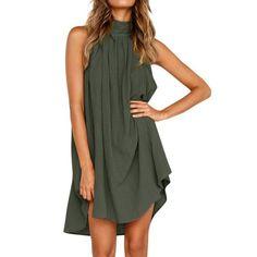 JHKUNO Women Dresses Womens Summer Casual Plain Flowy Loose Beach Mini Dress