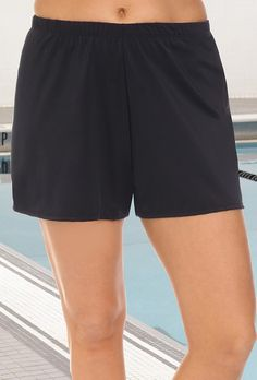 aba59f10a9983 Aquabelle Chlorine Resistant Black Loose Short Swimsuit With Shorts