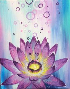 Join us for a Paint Nite event Thu Aug 2018 at Myrtle Ave. Purchase your tickets online to reserve a fun night out! Ceramic Painting, Acrylic Painting Canvas, Canvas Art, Lotus Painting, Diy Painting, Painting Lessons, Art Lessons, Flower Art Drawing, Art Party