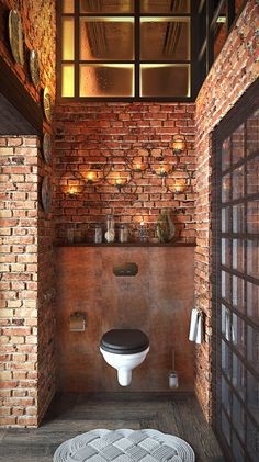 Make Your Home Shine With These Industrial Farmhouse Design Tips It may be that you have never done much with your personal living space because you feel you do not know enough about interior design. Earthy Bathroom, Brick Bathroom, Bathroom Styling, Bathroom Interior, Small Bathroom, Industrial Bathroom Design, Industrial Style, Design Bathroom, Toilet Design