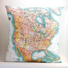 vintage NORTH AMERICA map pillow DIY kit, made to order, via Etsy.