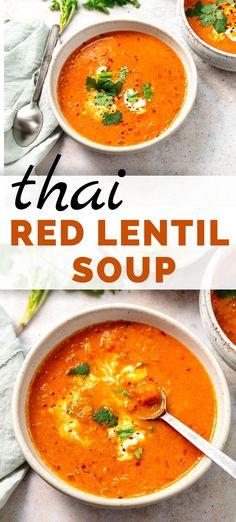 Thai Coconut Red Lentil Soup (Vegan) - easy Thai Red Curry Red Lentil Soup with Tomato and Coconut. Curried Lentil Soup, Vegan Lentil Soup, Lentil Soup Recipes, Vegan Soups, Easy Soup Recipes, Vegan Dishes, Vegetarian Recipes, Cooking Recipes, Coconut Lentil Soup