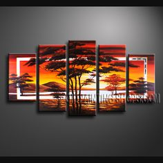 Huge Contemporary Wall Art Hand Painted Oil Painting Stretched Ready To Hang Africa Landscape. This 5 panels canvas wall art is hand painted by Anmi.Z, instock - $155. To see more, visit OilPaintingShops.com