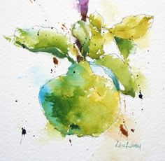 quince, fruit, chartreuse, green, cottage garden, watercolor, painting, fine art, Lisa Livoni, Napa Valley artist, colorist