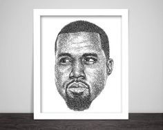 Scribbled Kanye West  Hip Hop Poster by ScribbleZone on Etsy