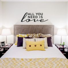 42 Super ideas for wall quotes decals bedroom songs Wall Decals For Bedroom, Vinyl Wall Decals, Mustard Yellow Bedrooms, Brown Paint Colors, Beatles, Aqua Walls, Gallery Wall Layout, Love Wall, Baby Boy Rooms