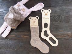 Wooden baby sock blockers / Teddy bear