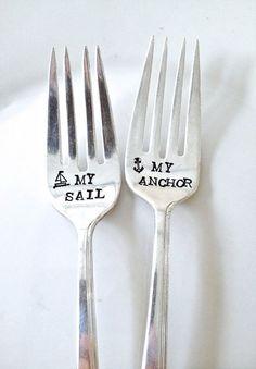 Adorable nautical themed wedding cake forks