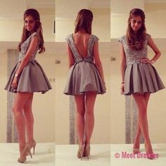 Homecoming Dress,Short Prom Gown,Grey Homecoming Gowns,Backless Party Dress,Sequined Prom Dresses,2018 Homecoming Dress For Teens PD20183809