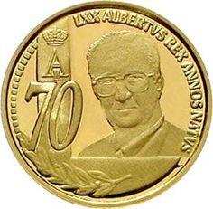 Kingdom of Belgium - 50 Euro (1 / 5 Ounce) 2004 on s. 70. birthday. In original casket with certificate. KM 250. proof coinage  Dealer Teutoburger Münzauktion & Handel GmbH  Auction Minimum Bid: 200.00EUR
