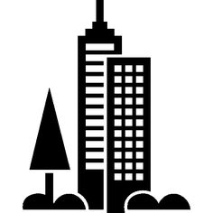 Cityscape with building towers I Free Icon