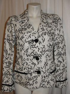 CHICOS 4/6 Linen Weave Black Wht Notched Lapels LS Jacket Lined Pockets Size 0 S…