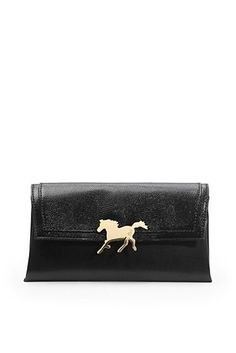 Limited Edition Chinese New Year Horse Envelope Clutch In Black