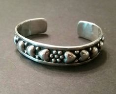 Taxco Heart Sterling Silver Cuff Mexico TP-10 Bracelet 26 grams by Stellavintagejewelry on Etsy