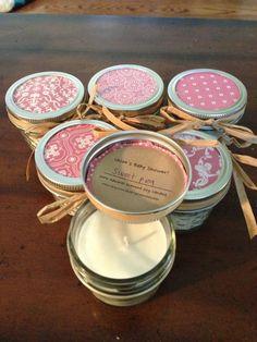 Fifty, 4 ounce pink baby shower favor candles - bridal shower favor - wedding favor