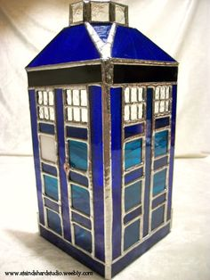 TARDIS Inspired Stained Glass Votive Holder