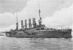 8.2 in armoured cruiser SMS Gneisenau, sister of Admiral von Spee's flagship Scharnhorst and thus one of the victors at Coronel in November 1914 before being overwhelmed and sunk by a British force including HMSs Invincible and Inflexible at the Falkland Islands the following month (a rare example of battlecruisers fulfilling their intended role).  Von Spee's son died in her.