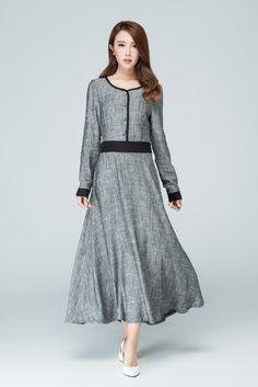 vestido gris vestido de lino vestido maxi vestido de por xiaolizi