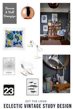 bohemian modern mid century vintage farrow downpipe modernist study home office styling ideas and inspiration eames rocker, teak cabinet, tom dixon copper light