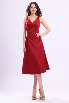 V-Neck A-Line Satin Bridesmaids Gowns wr2778 - http://www.weddingrobe.co.uk/v-neck-a-line-satin-bridesmaids-gowns-wr2778.html - NECKLINE: V-Neck. FABRIC: Satin. SLEEVE: Sleeveless. COLOR: Red. SILHOUETTE: A-Line. - 86.59