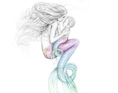 8x10 inch SIGNED Mother Mermaid and Mer-Baby Art Print