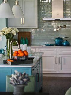 Turquoise Kitchen Island - kitchen - Sherwin Williams Watery - HGTV