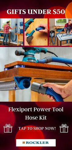 Four flexible rubber ports connect the fixed-length dust hose to a wide variety of handheld tools, even those with odd port shapes! This hose kit is a great addition to your favorite woodworker's shop this holiday season.  #createwithconfidence #dustright #flexiport #powertool #dustcollection