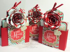 Stampin' Up! Valentine's Card Box Gifts Elaine's Creations inspired by Becky Roberts Tags 4 You, Scallop Tag Topper Punch 3d Paper Crafts, Paper Gifts, Diy Crafts, Paper Crafting, Craft Packaging, Pretty Packaging, Fun Fold Cards, Pop Up Cards, Stampin Up