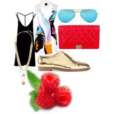 Summer evening by marketa-novotna-sedova on Polyvore featuring polyvore fashion style RVCA Josh Goot Ralph Lauren Black Label Chanel Vince Camuto Ray-Ban