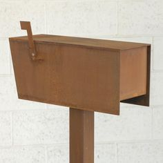 The Dexter Mailbox - Steel Modern Metal Letter Box Contemporary Metal Post Box Address Numbers Curbside Custom Mailboxes, Modern Mailbox, Types Of Steel, Ipe Wood, Steel Mill, Metal Letters, Steel Plate, House Numbers