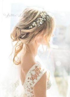 Long Messy Wedding Hairstyle with Boho Wedding Flower Headband