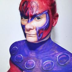 Makeup challenge. Day 65 - Magneto from Marvel. For more facepaint, sfx, makeup, costume and cosplay picture follow @mycharacterdesign on instagram. Makeup: Kristin Sunde. Model: Kristin Sunde.