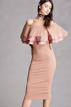 A knit bodycon dress featuring an elasticized flounce-layered neckline with satin trim and a concealed back zip closure. This is an independent brand and not a Forever 21 branded item.