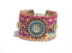 Ibiza chic friendship bracelet hippie cuff with gold plated curb chain and Swarovski - statement jewelry - boho chic bohemian jewelry