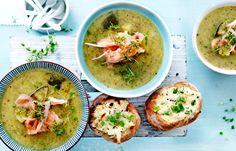 courgettesoep met zalm | delicious.magazine Gazpacho, Baked Potato, Ceviche, Harvest, Nom Nom, Good Food, Dishes, Chicken, Meat