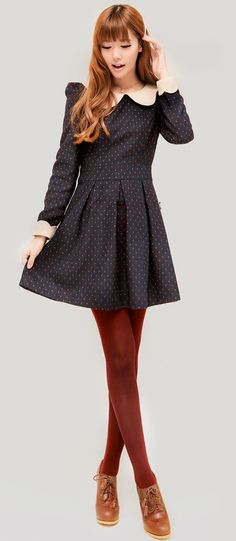Polka dot dress + burgundy tights
