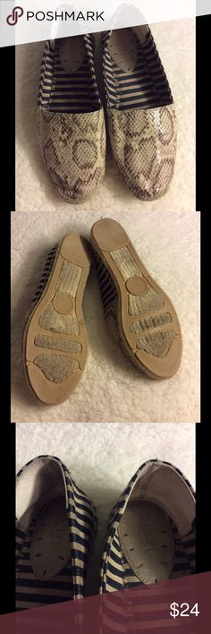 Rachel Roy snake print striped flats Used with signs of use.  See photos Rachel Roy Shoes Flats & Loafers