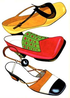 Sixties shoes, illustration by Philip Hartley, 1968