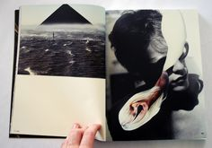 "LUCAS SIMOES, REVISTA GUDI N.2: left: photograph by hugo frasa, right: verso/recorte, ""cut and fold"" collage."