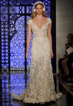 Reem Acra Fall 2016 V-neck, lace gown with short sleeves | https://www.theknot.com/content/reem-acra-wedding-dresses-bridal-fashion-week-fall-2016