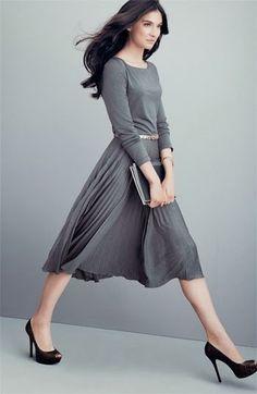 Gorgeous Dark Gray Ladies Dress With Black Heels